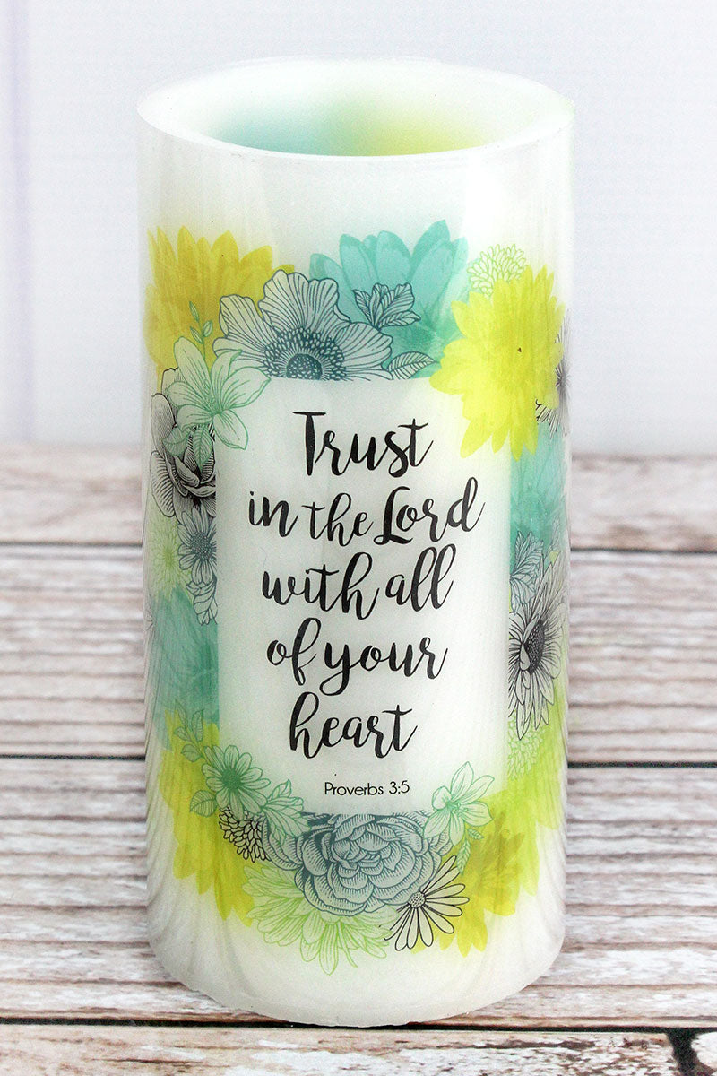 6 x 3 'Trust In The Lord' Garden Party LED Candle