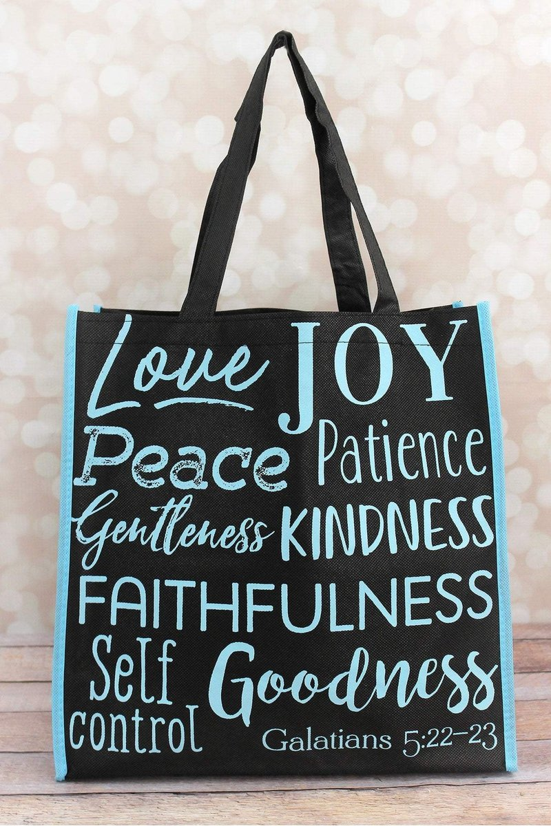 Fruits of the Spirit Black and Light Blue Tote Bag