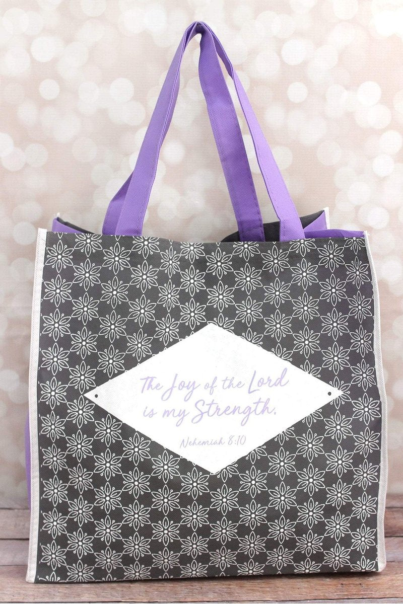 Joy Of The Lord Gray Floral Tote Bag