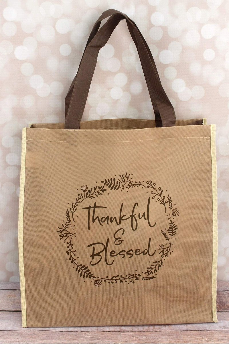Thankful & Blessed Brown Tote Bag