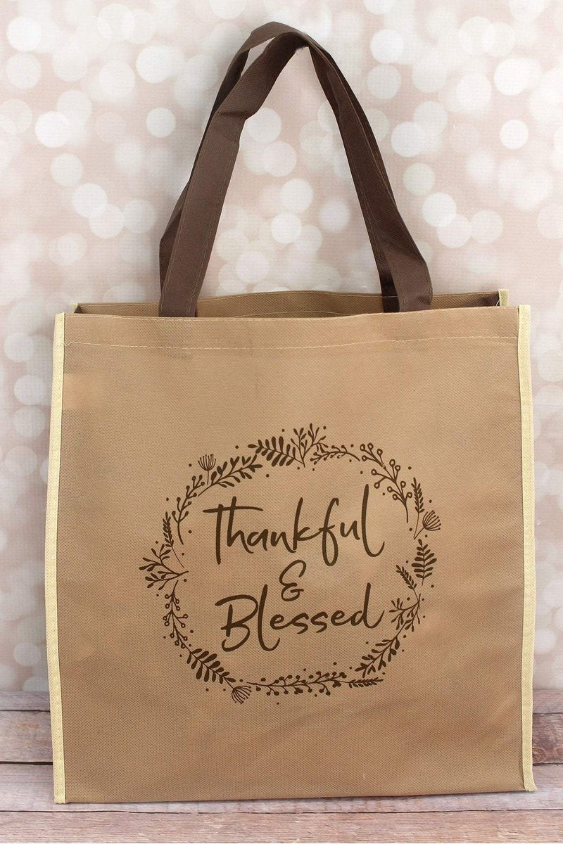 5c42cfc6ae27 Thankful   Blessed Brown Tote Bag