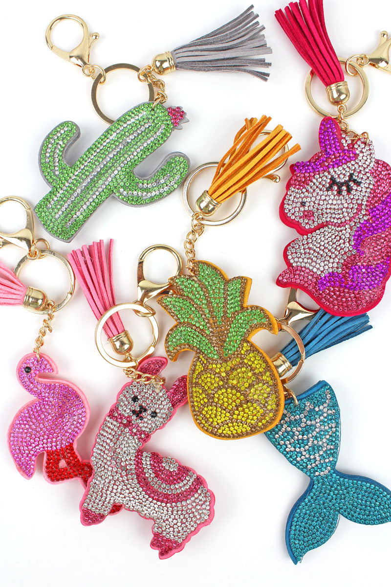 One Dazzler Keychain with Tassel Charm - SHIPS ASSORTED