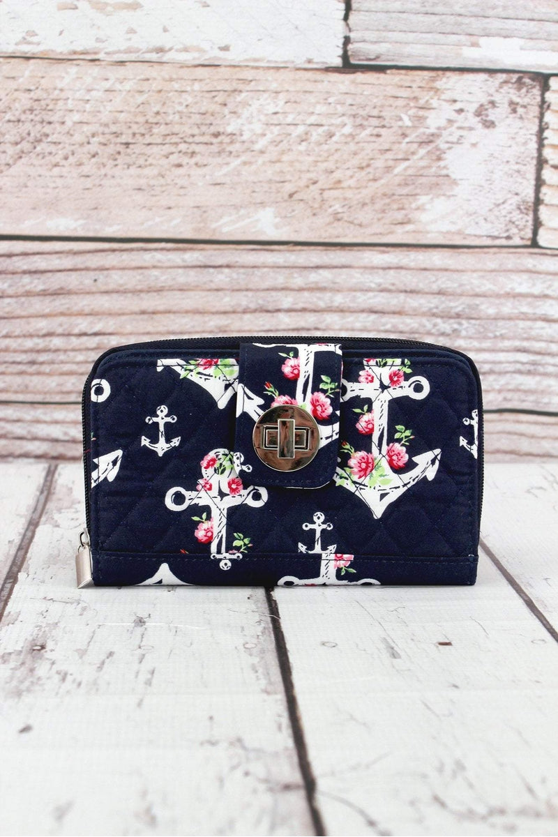 NGIL Anchor Blossom Quilted Organizer Clutch Wallet