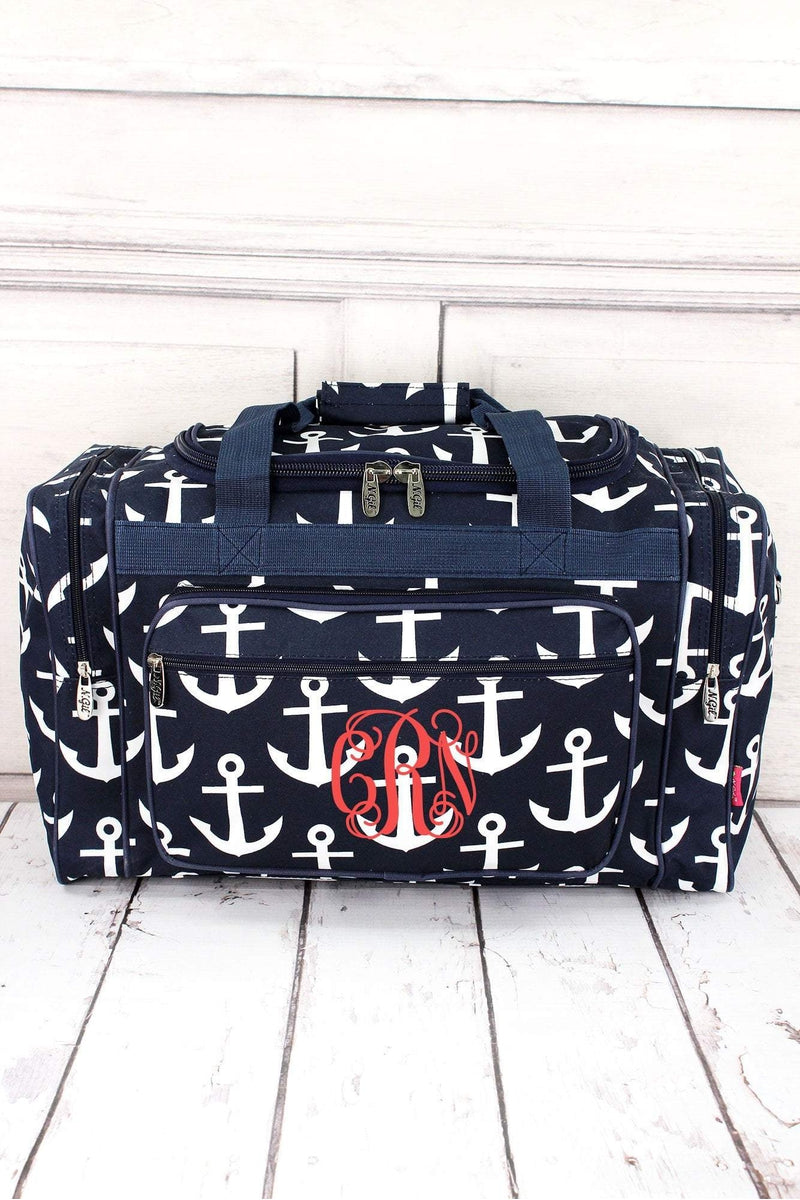 "Navy with White Anchors Duffle Bag 20"" #DDT420-NAVY"