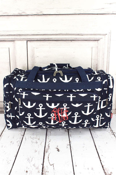 "NGIL Navy with White Anchors Duffle Bag 23"" #DDT423-NAVY"