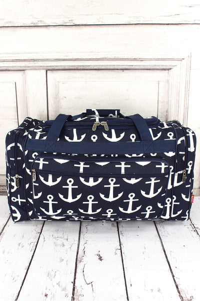 NGIL Navy with White Anchors Duffle Bag 23""