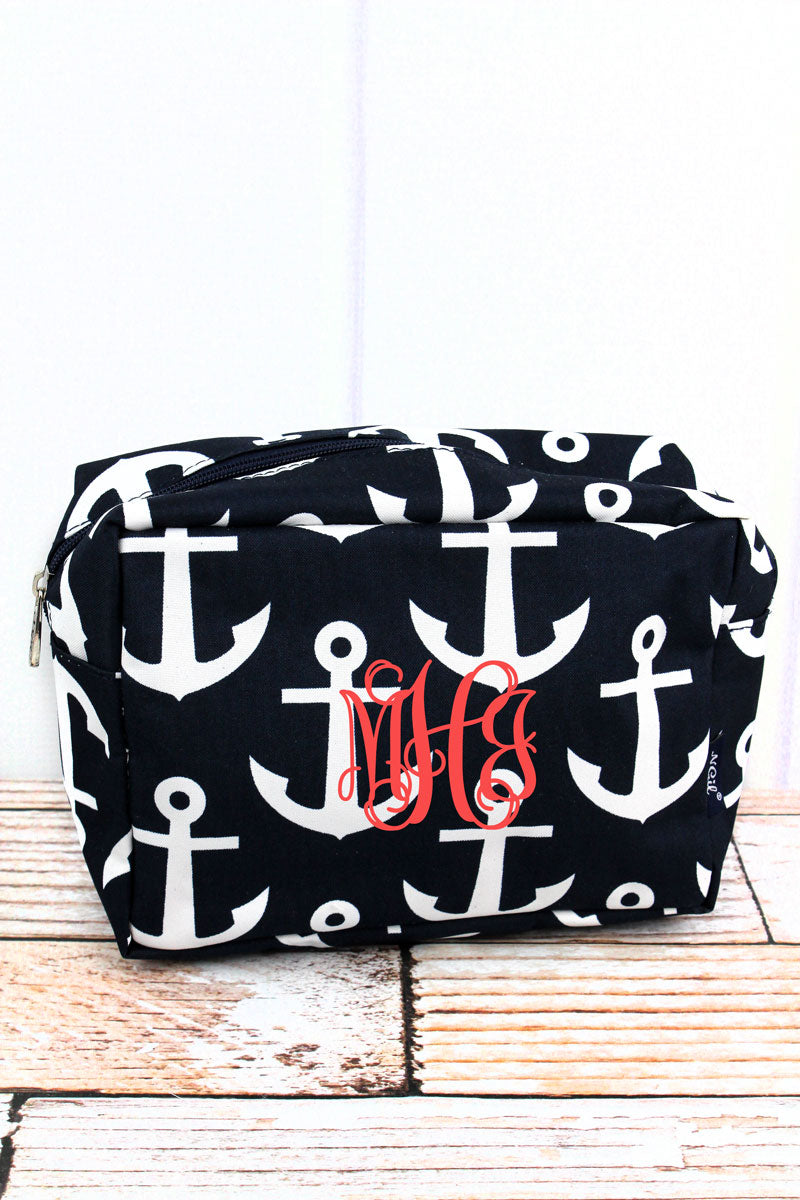 NGIL Navy with White Anchors Cosmetic Case
