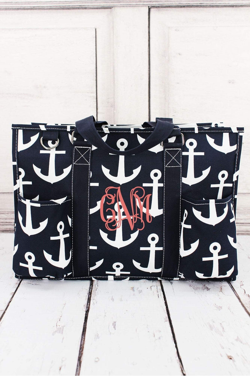 Navy with White Anchors Utility Tote #DDT731-NAVY - Wholesale Accessory Market