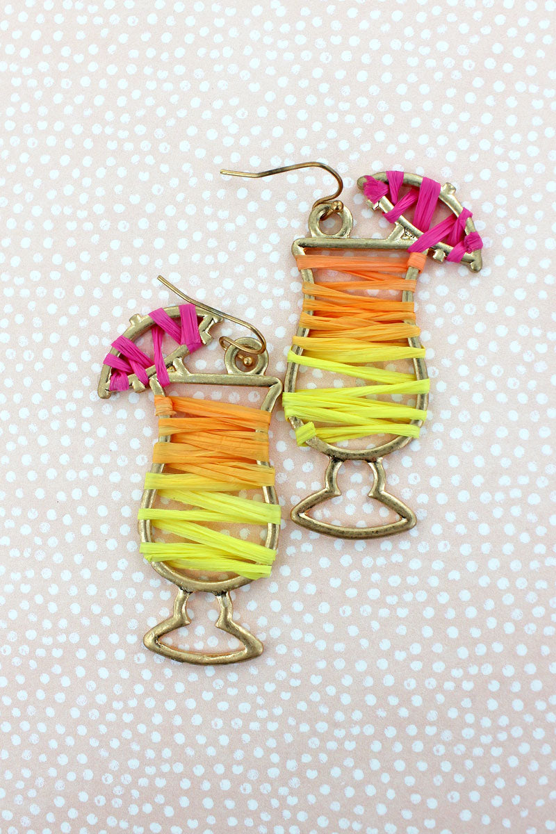 Raffia Wrapped Goldtone Cocktail Earrings