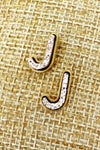 Rose Gold Druzy 'J' Initial Stud Earrings