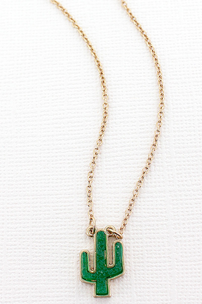 Green Druzy Cactus Pendant Necklace