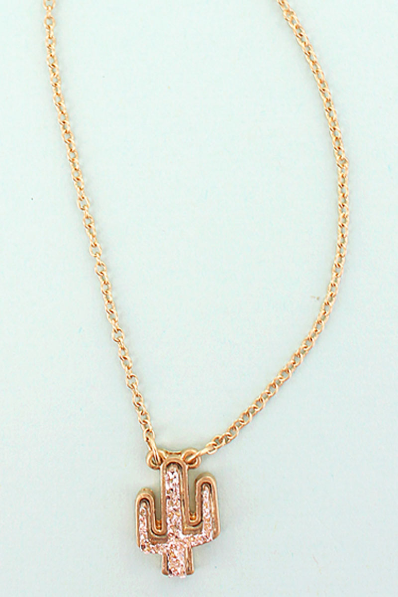 Rose Gold Druzy Cactus Pendant Necklace