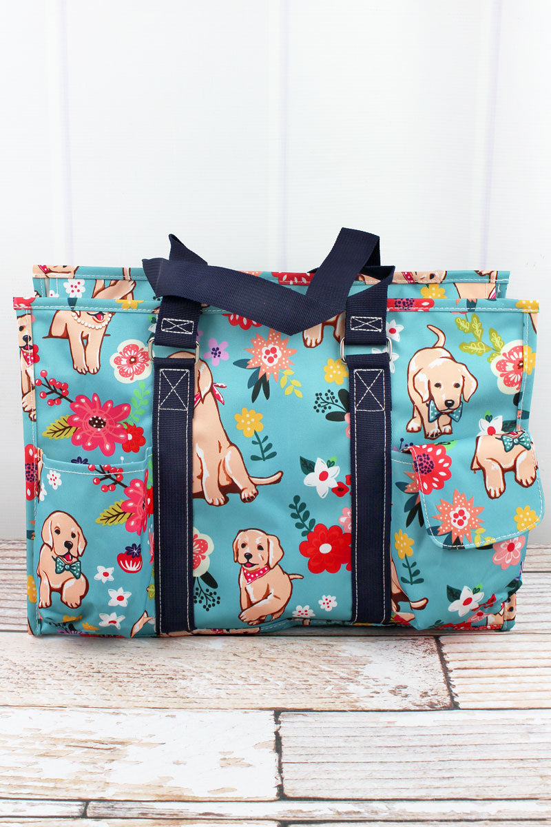 NGIL Dapper Dogs Utility Tote with Navy Trim