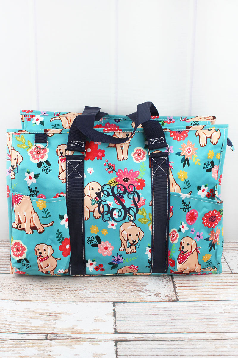 NGIL Dapper Dogs with Navy Trim Large Organizer Tote