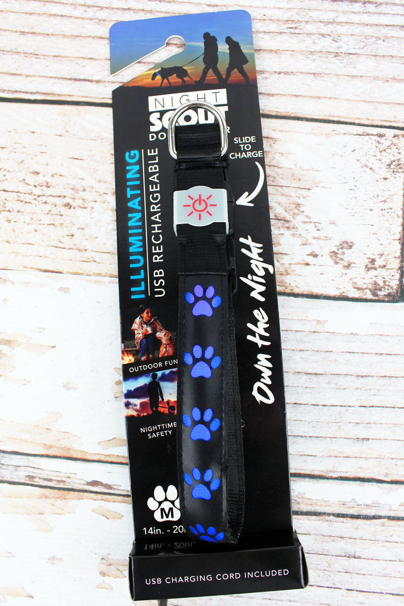 Black and Blue Paw Print Illuminating Dog Collar *Choose Your Size