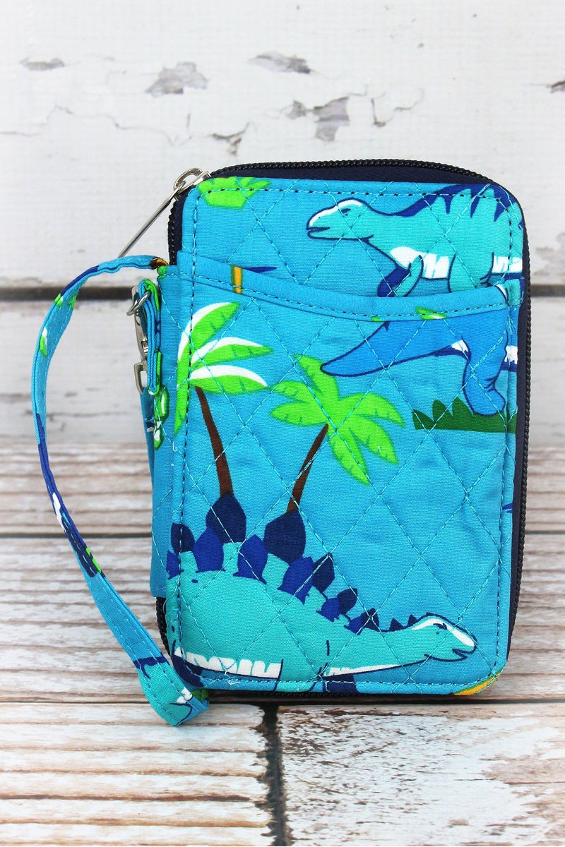 Dinosaur World Quilted Wristlet