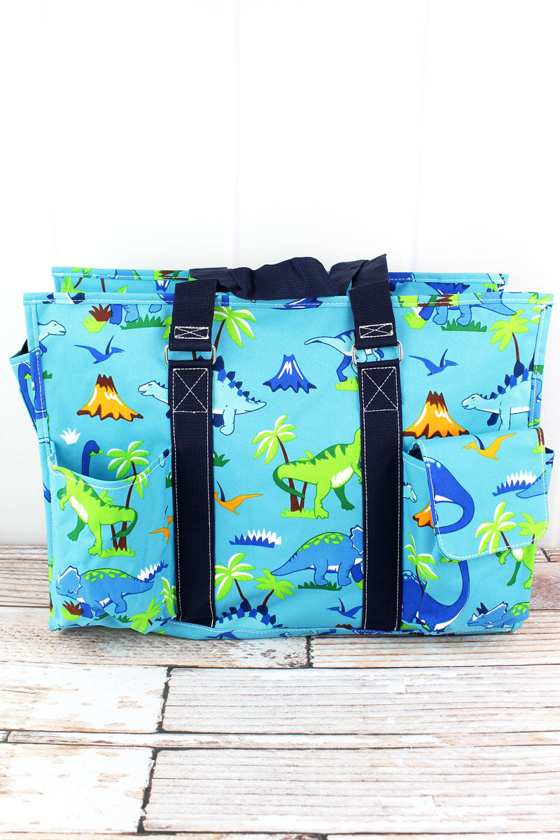NGIL Dinosaur World with Navy Trim Large Organizer Tote