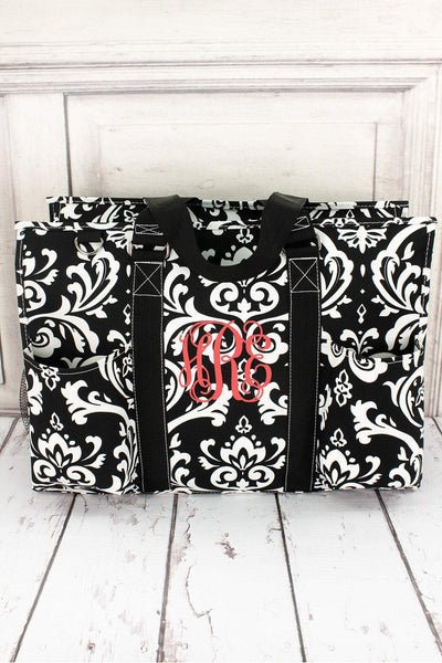 Damask Utility Tote with Black Trim #DMSK731-BLACK