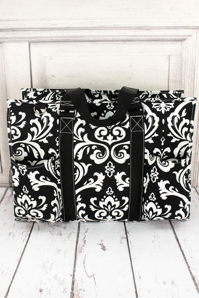 NGIL Damask Utility Tote with Black Trim