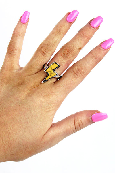 Yellow Lightning Bolt Stretch Ring