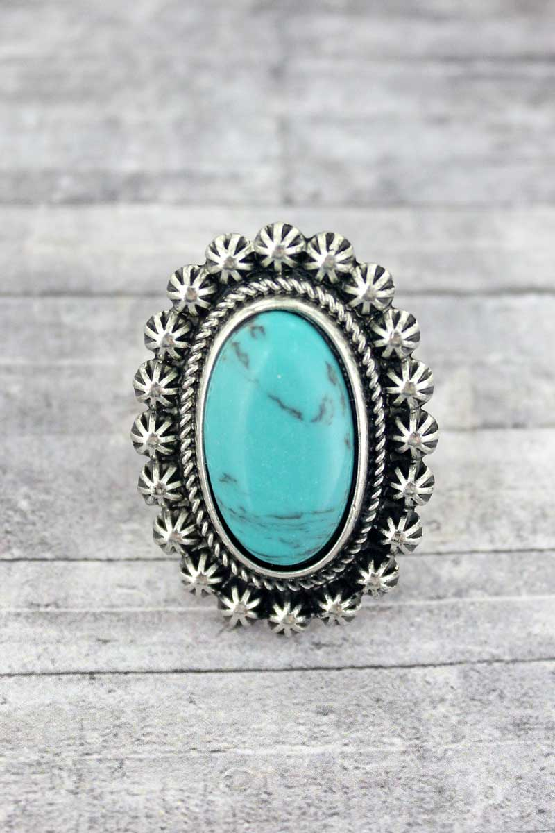 Bellflower Turquoise Oval Ring