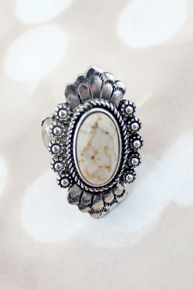 Florence Natural and Silvertone Ring