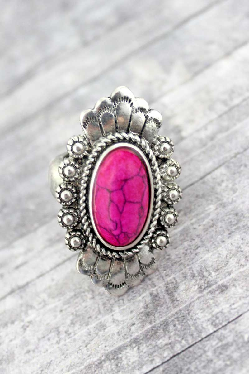 Florence Fuchsia Pink and Silvertone Ring