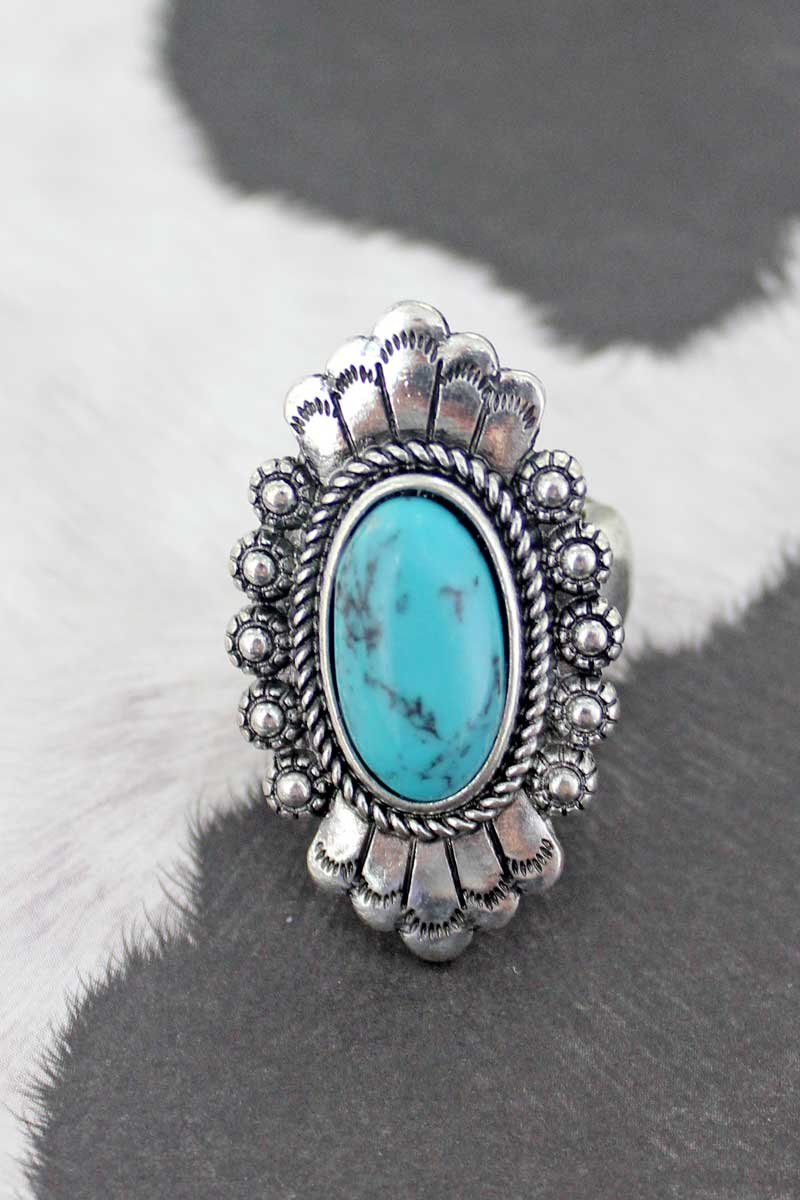 Florence Turquoise and Silvertone Ring