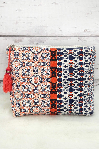 Geo Glam Navy and Red Tassel Cosmetic Bag