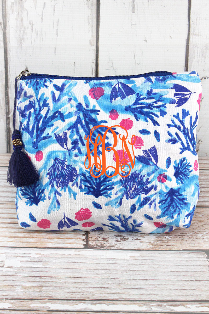 Blue Coral Cay Tassel Cosmetic Bag