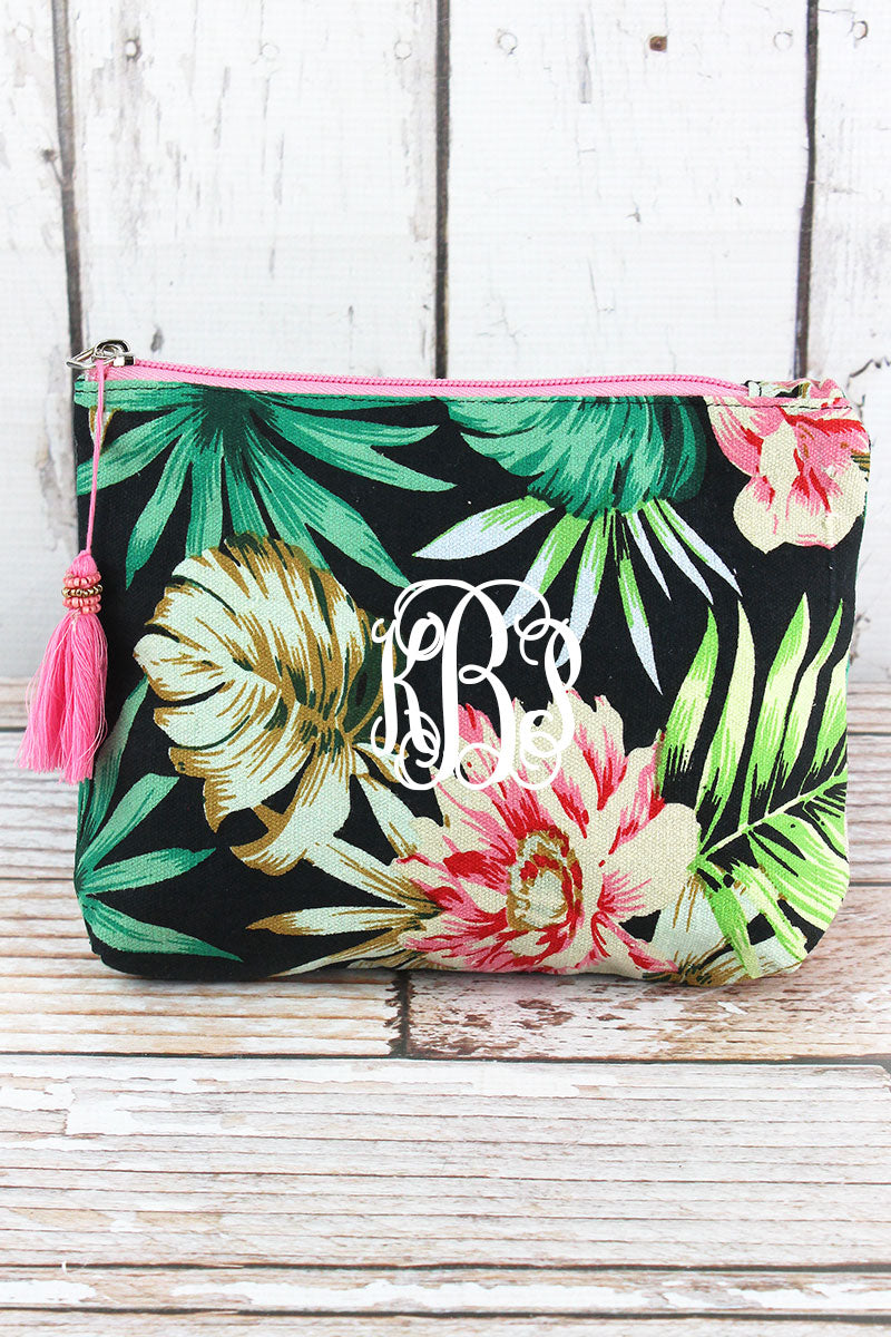Tropical Getaway Black Tassel Cosmetic Bag