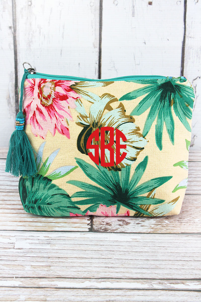 Tropical Getaway Cream Tassel Cosmetic Bag