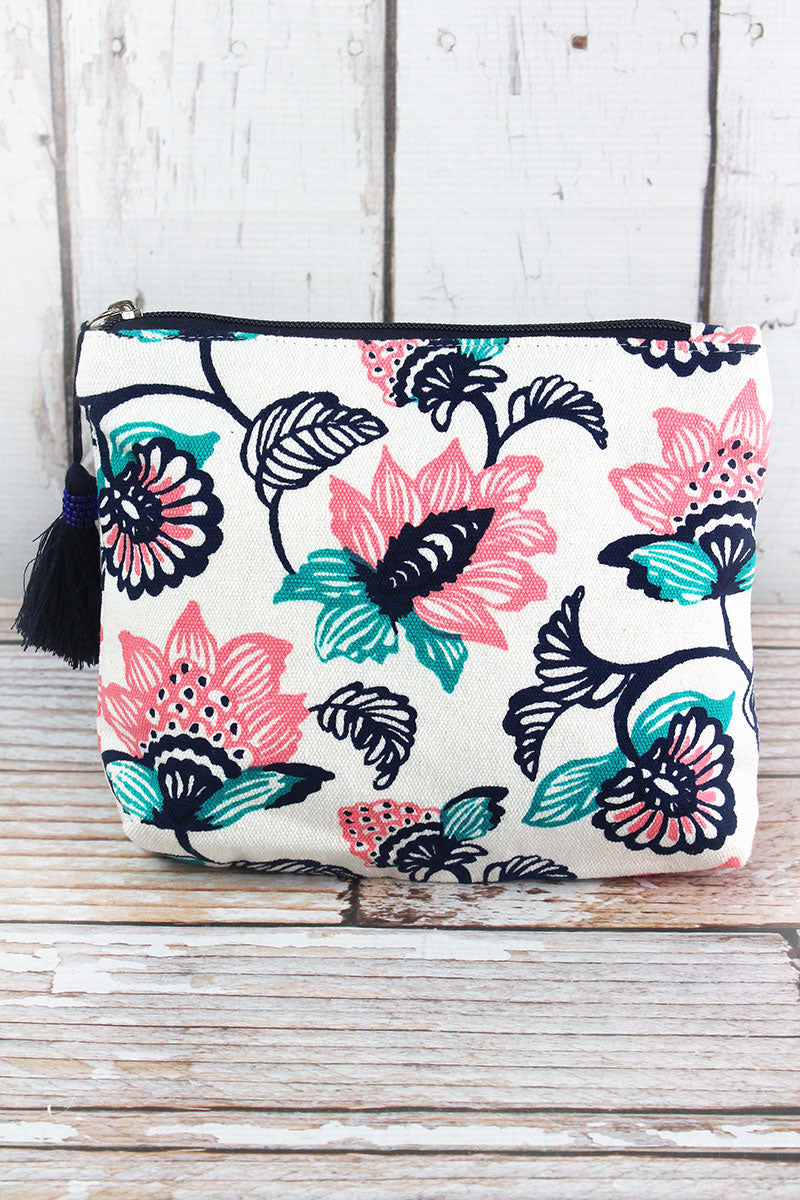 cd7bd1291ff1 Striking Blooms Navy Tassel Cosmetic Bag