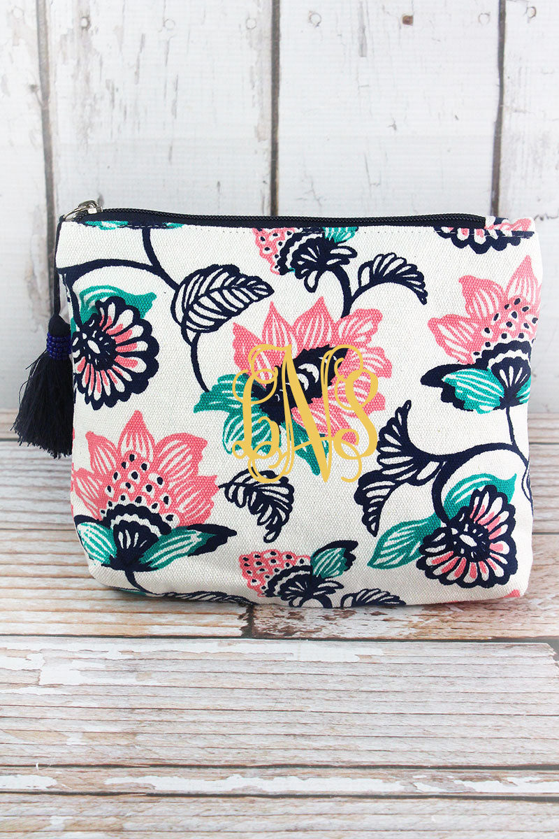 Striking Blooms Navy Tassel Cosmetic Bag