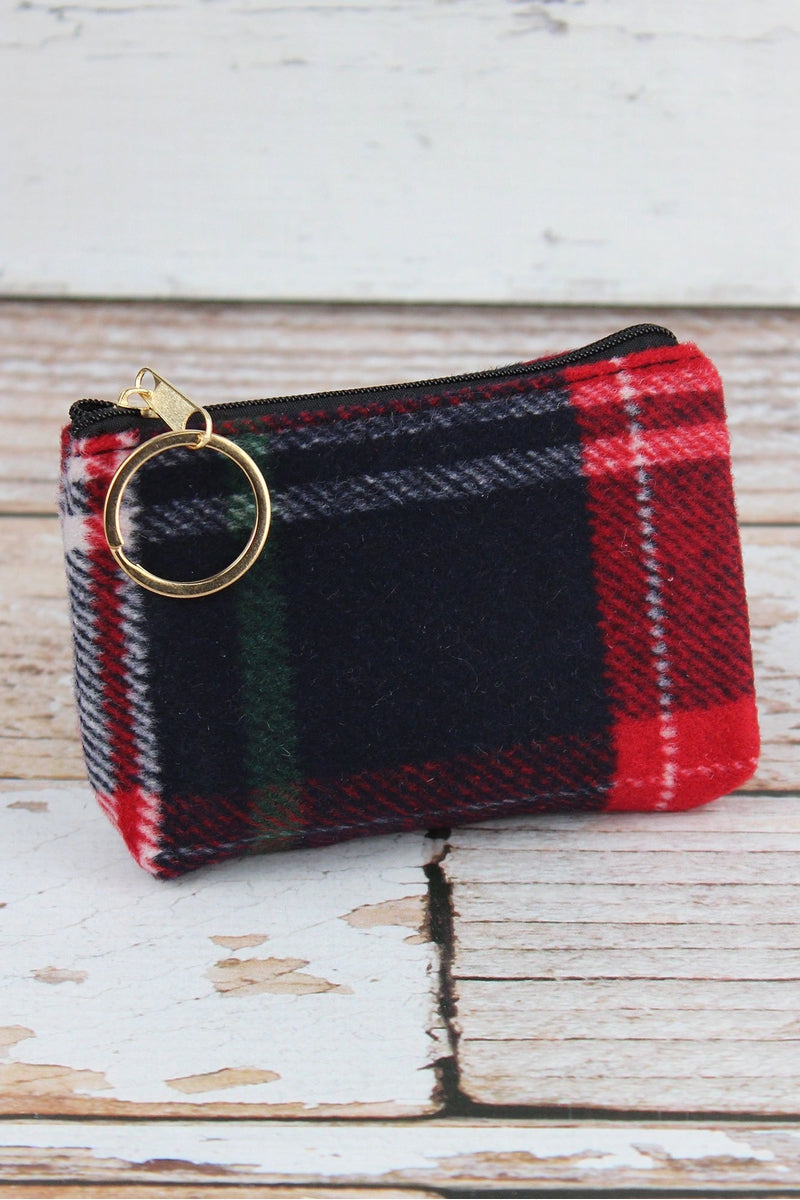 Red Autumn Plaid Coin Purse