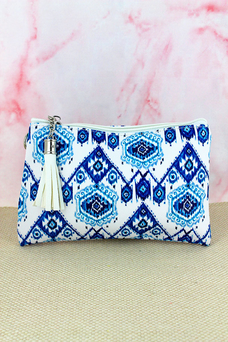 Blue Travel Daze Tassel Pouch