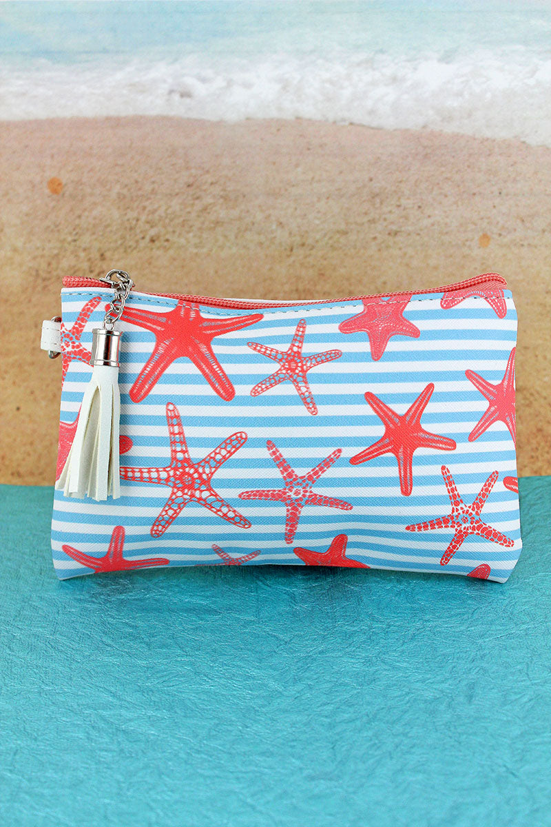 Light Blue Nautical Stripe Starfish Tassel Pouch