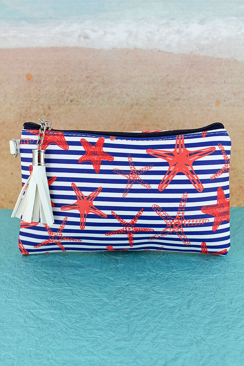 Navy Nautical Stripe Starfish Tassel Pouch
