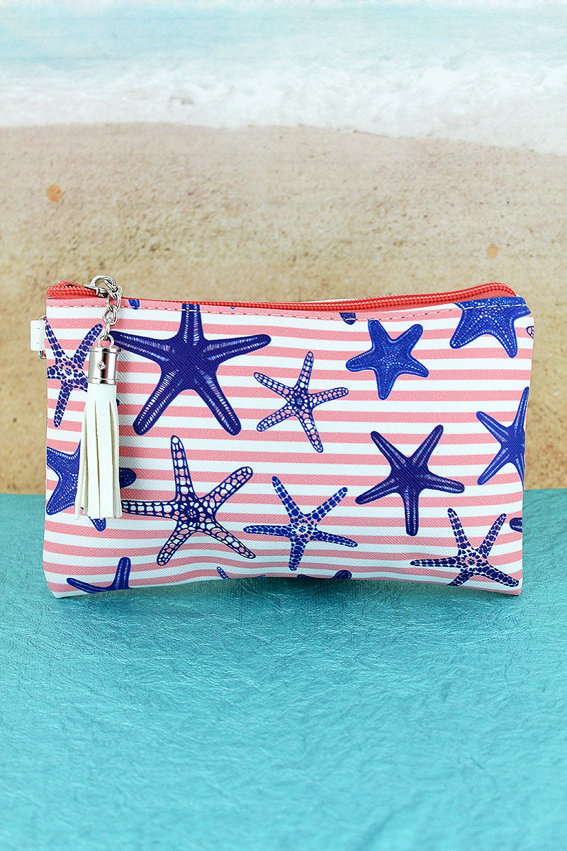 Pink Nautical Stripe Starfish Tassel Pouch