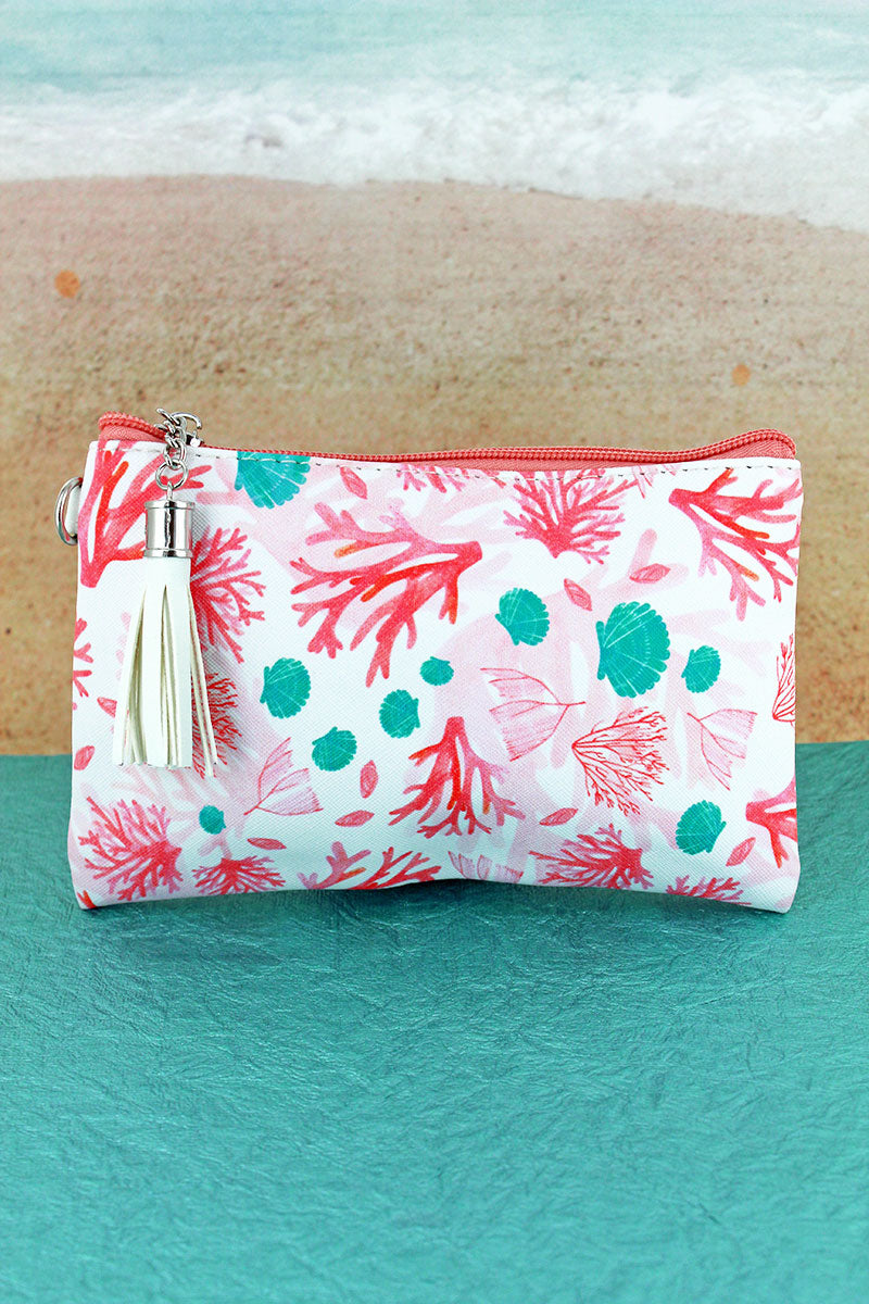 Coral Cay Tassel Pouch