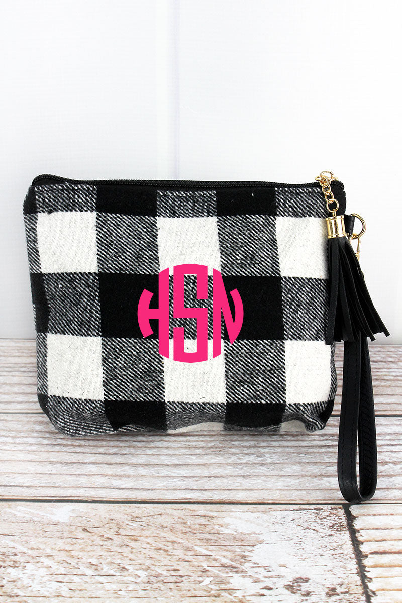 Black and White Buffalo Plaid Tassel Wristlet Pouch