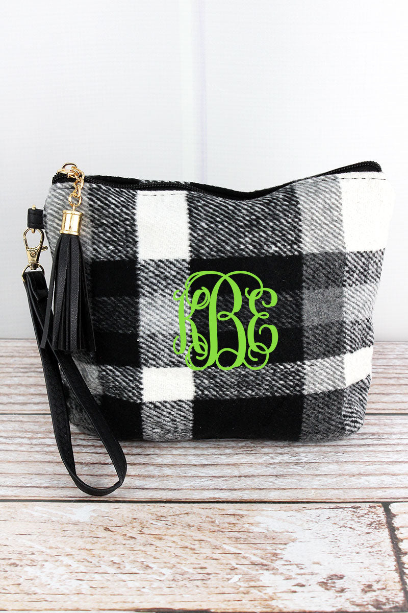 Snowy Night Plaid Tassel Wristlet Pouch