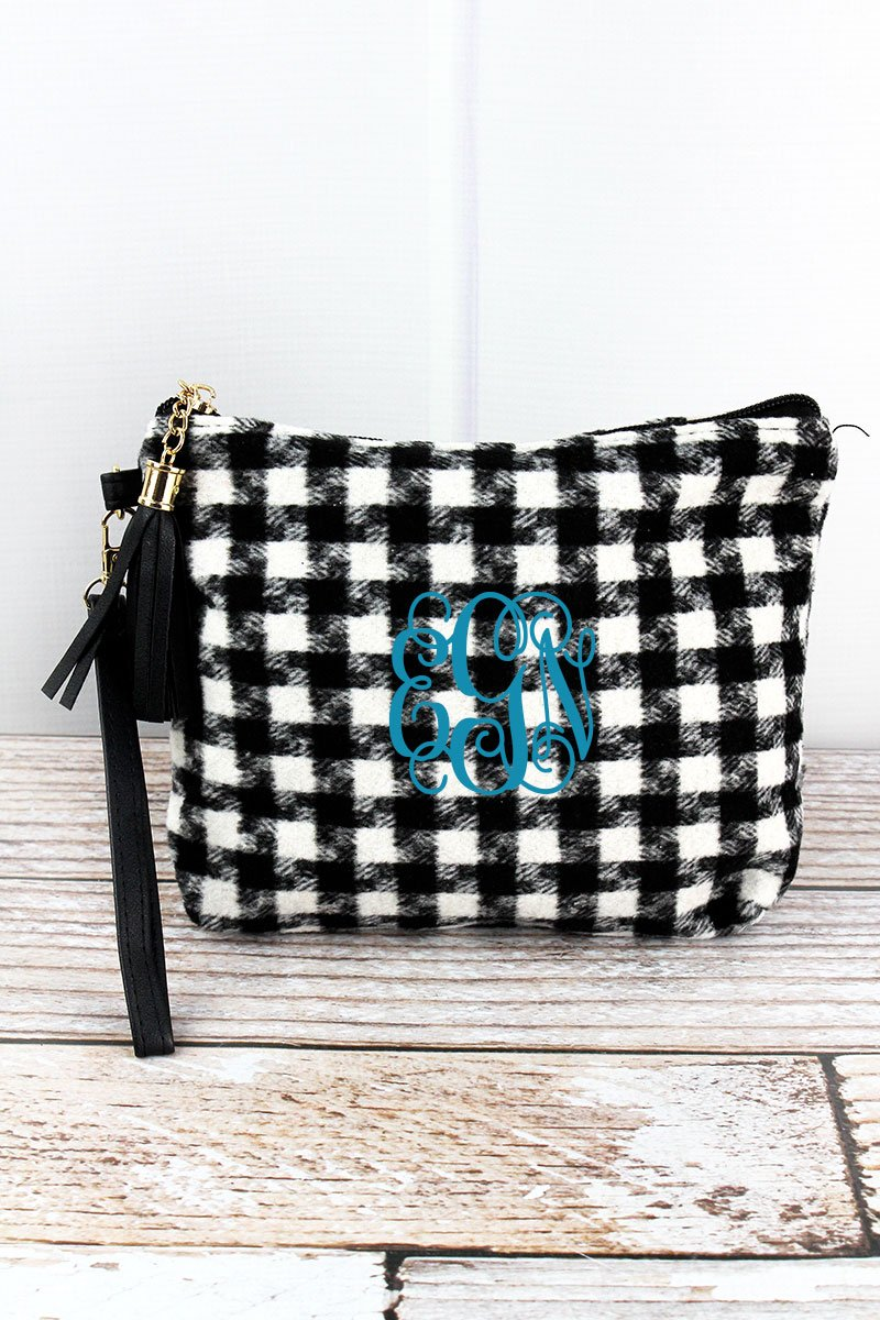 Black and White Houndstooth Tassel Wristlet Pouch