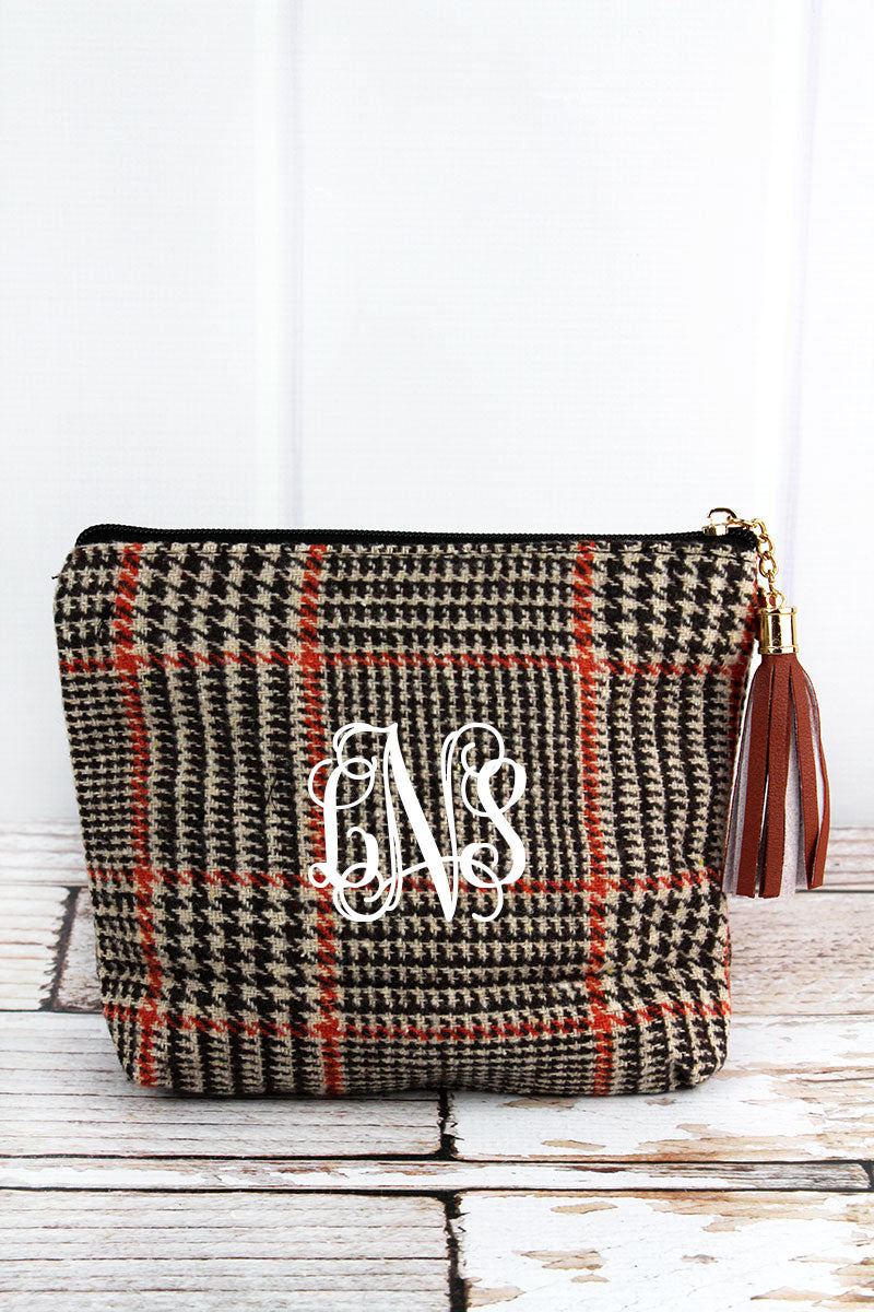 Brown Glen Check Tassel Wristlet Pouch