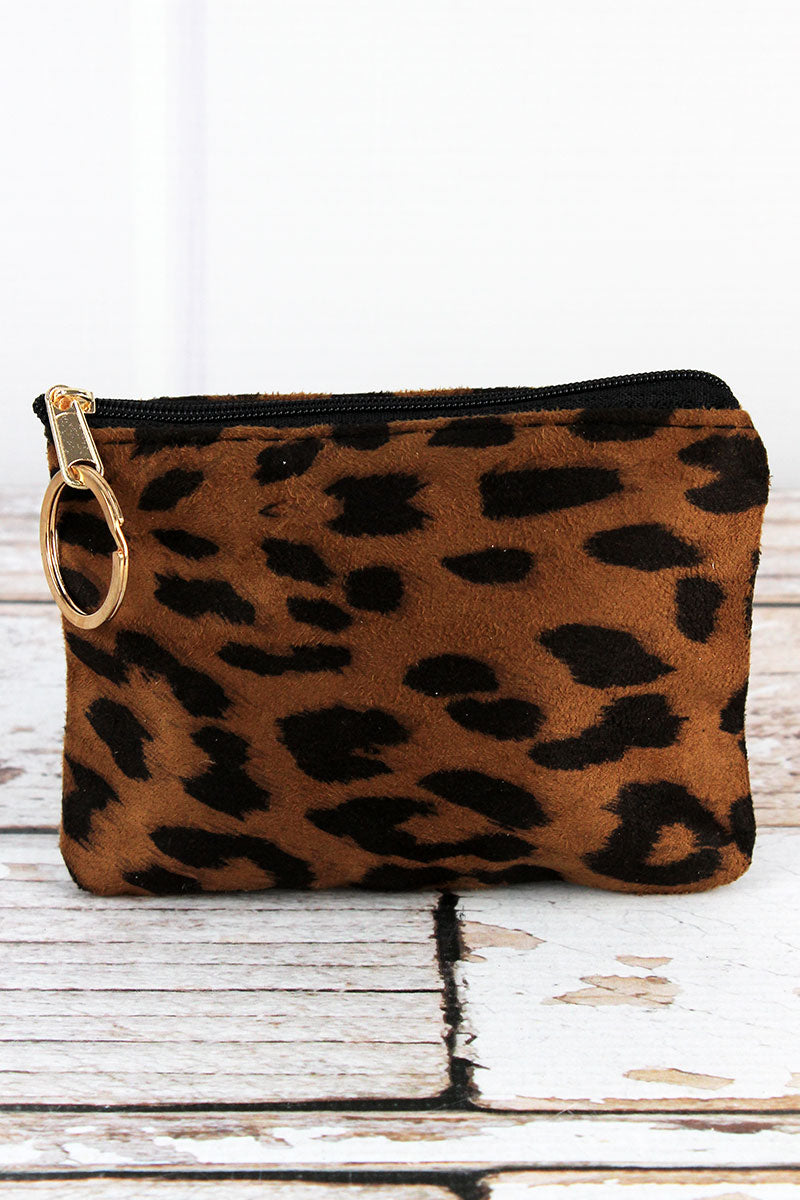 Tan Luxe Leopard Coin Purse