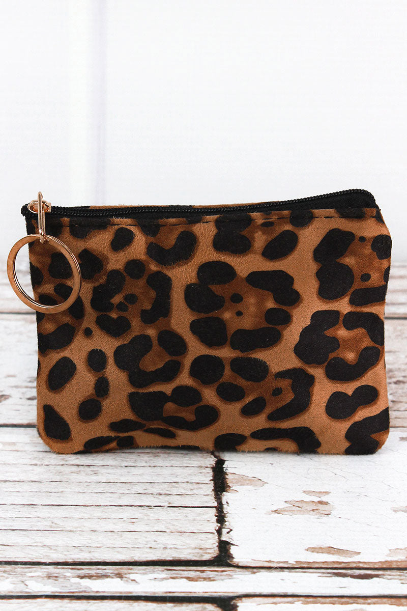 Beige Luxe Leopard Coin Purse
