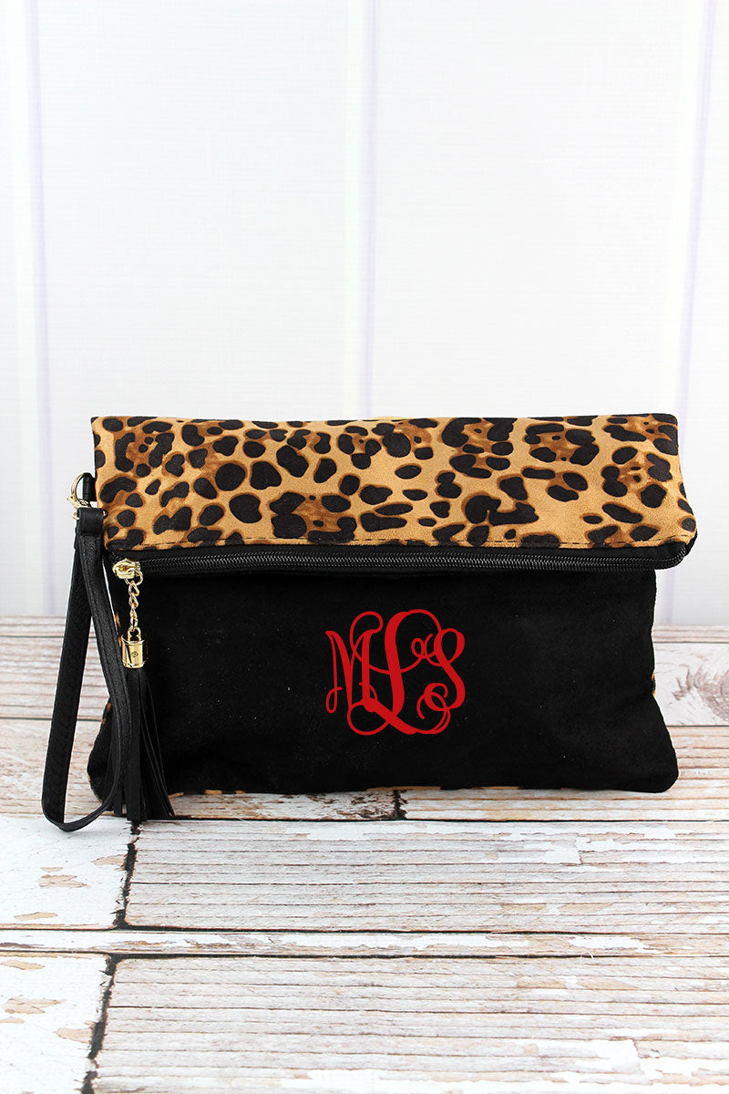 Luxe Leopard and Black Foldover Clutch