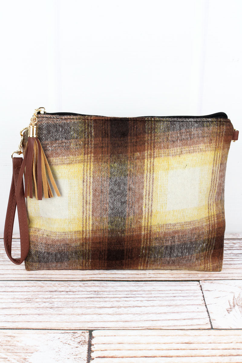 Brown Harvest Moon Plaid Tassel Crossbody Clutch