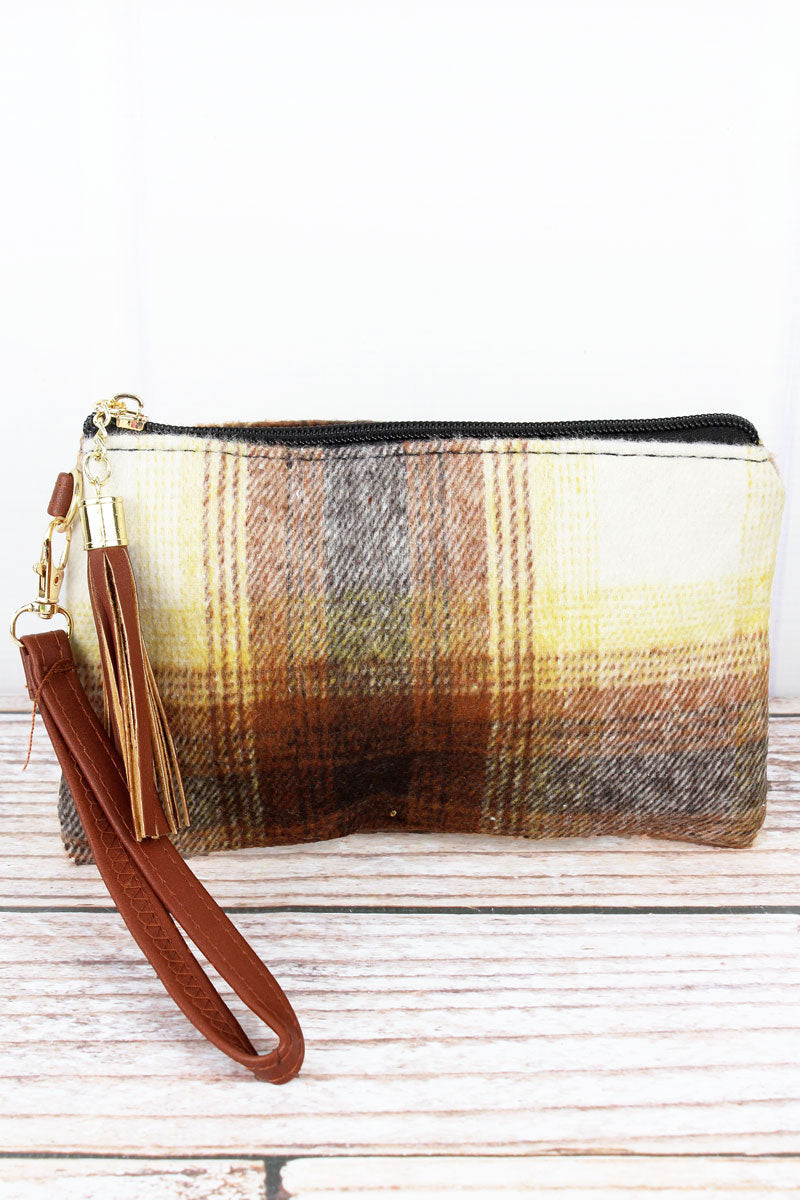 Brown Harvest Moon Plaid Tassel Wristlet Pouch