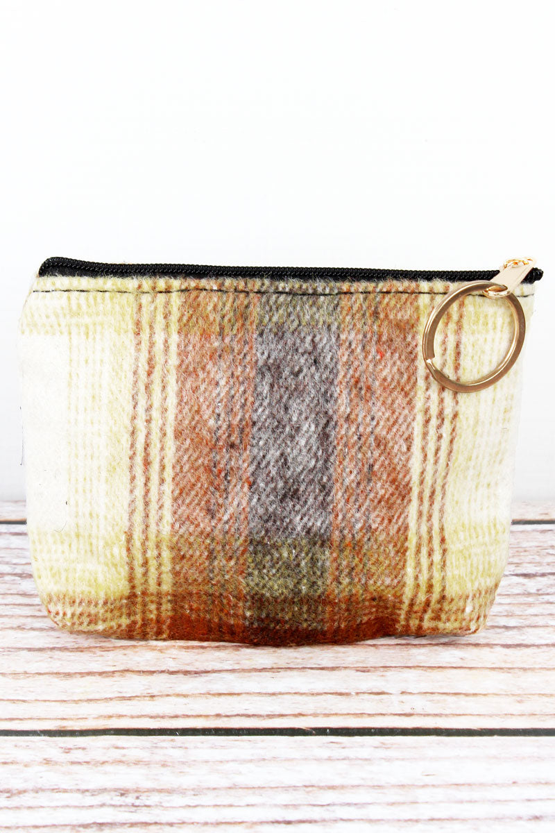 Brown Harvest Moon Plaid Coin Purse